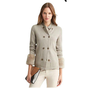 Banana Republic | Oatmeal Faux Fur Cuff Cardigan
